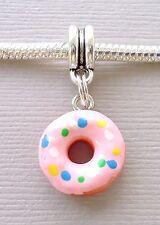1 pc Pink Doughnut Dangle Bead Pendant Fit for European charm Bracelet C164