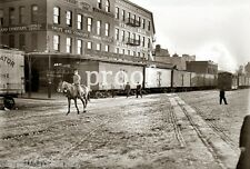 New York Central Steam City Swift & Co Meat Street Train Vintage photo1900