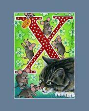 "Alphabet Cat ACEO Print Letter ""X"" by I Garmashova"