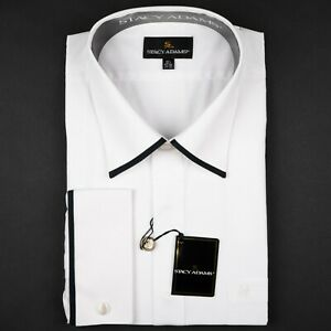 White & Black Fly Front French Cuffs Spread Men's Dress Shirt by Stacy Adams