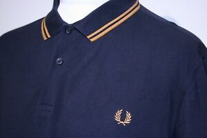 Fred Perry Twin Tipped Polo Shirt - XXL/2XL - Navy Blue/Burnt Amber - M3600 Top