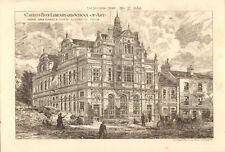 1880  ANTIQUE PRINT- ARCHITECTURE - CARDIFF FREE LIBRARY AND SCHOOL OF ART
