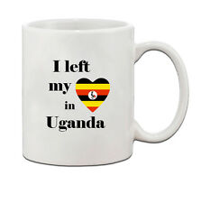 I Left My Heart In Uganda Flag Country Ceramic Coffee Tea Mug Cup