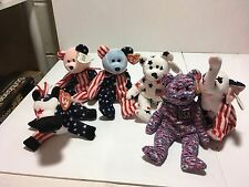 Ty Beanie Babies Retired Patriotic Lot Glory Righty Lefty Usa Spangle Pink Blue