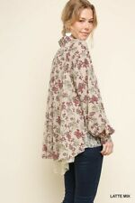 M GIGIO BY UMGEE LATTE floral Lace Extender Shirt/Blouse/Top BHCS