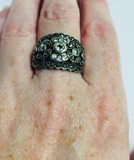 Pawn Marcasite Sterling Silver Ring Size 10 Vintage Thai 925 Cfj Art Deco