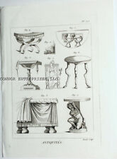 "1771 DIDEROT ENGRAVING ""ANTIQUITES"" #313 FURNITURE, TABLES RELATING BACK TO B.C"