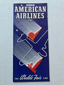1939 American Airlines Timetable w/ Routemap