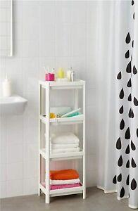 Small Corner Shelf Unit Tall Modern Bathroom Shelving Side Storage Towel Stand