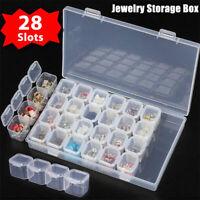 Clear Plastic 28 Slots Adjustable Jewelry Storage Box Case Craft Organizer Beads