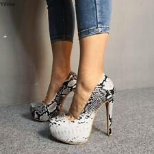 Women Platform Pumps Stiletto Heels Pumps Round Toe Gorgeous Snake Pattern Shoes