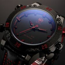 SHARK Black Steel LED Day Date Analog Red Dial Men's Sport Leather Quartz Watch