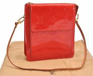 Authentic Louis Vuitton Monogram Vernis Mott Shoulder Bag Red LV E2423