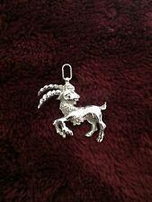 Goat Charm Silver Tone Antique 3D Mountain Goat Pendant