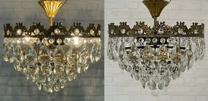 Matching Pair of Antique Vintage Brass & Crystals Low  Ceiling Chandeliers Lamp