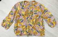 Ladies Floral Mustard Paisley Blouse Size 16 Long Sleeve Fashion Blogger