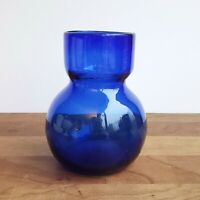 Handblown glass vase small cobalt blue squat modern shape 5 inches rough pontil