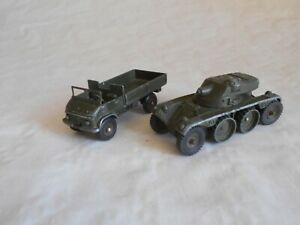 vintage French dinky army series 821 mercedes benz unimog and 827 panhard FL10