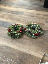2 Candle Wreaths Frosted Holly Berry Red & Silver