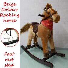 Kids Toy Rocking Horse Wood Plush Wooden Riding Traditional Gift With Music UK