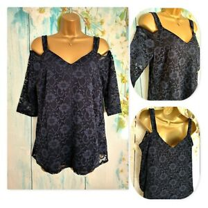 NEW ROMAN TOP Size 14,  Navy Stretch Lace Cold Shoulder Occasion Party Top