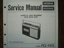Panasonic RQ-416S REGISTRATORE A CASSETTE MANUALE SERVIZIO diagramma di cablaggio parti
