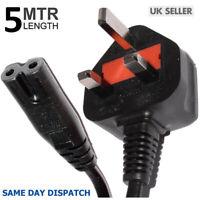 5M FIGURE OF 8 MAINS CABLE POWER UK LEAD PLUG CORD FIG IEC C7 TV SKY BOX RADIO