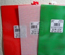 Lot of 3 Christmas Colored (1 each-Red/White/Green) 7-Mesh Plastic Canvas Sheets