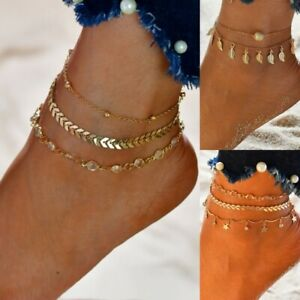 Gold Boho Ankle Bracelet Multi Layer Anklet Anklets Adjustable Chain Foot Beach