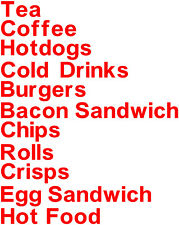 Menu Wording 1, Catering Decals Stickers, Burger Van Stickers, Fast Food Decals