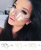Transparent Aviator Sunglasses Clear Lenses Glasses Gold Frame Vintage Retro New