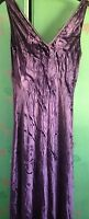 NEW M&S STUNNING  PURPLE CRUSHED VELVET FULL LENGTH DRESS SIZE 10(SML 12 FIT)
