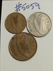 🇮🇪🇮🇪 3 Ireland Coins 1971 1-, 1988 2-, & 1976 5- Pence Coins 🇮🇪🇮🇪