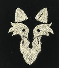 EMBROIDERED Champagne on BLACK Silk Velvet Fabric - Fox