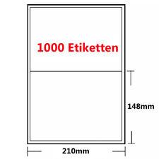1000 Etiketten 210mmx148mm 210 x 148 mm weiß selbstklebend