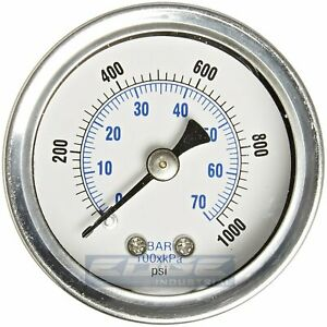 "LIQUID FILLED PRESSURE GAUGE 0-1000 PSI, 1.5"" FACE, 1/8"" NPT BACK MOUNT"