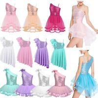 Girls Kids Sequins Ballet Tutu Dress Gymnastics Leotard Ballerina Dance Costume