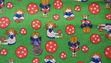 "Vintage Cotton Fabric LITTLE GIRLS & GIANT POLKA DOTS ON GREEN1 Yd/45"" Wide"