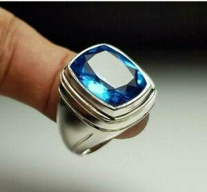 Natürlich Blau Topas Edelstein Mit 925 Sterlingsilber Ring für Herren AJ501