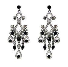 Mystery - Black and Clear Rhinestone Chandelier Drop Earrings