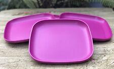 "Tupperware Plates Square  8"" raised sides Set Of 4 Radish Color New"
