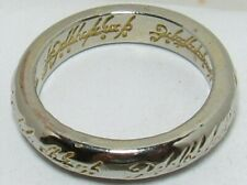Lord of The Rings The One Ring Sz 6.5 Band Hobbit Silver w/ Gold Letter Words