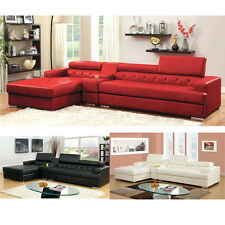 Floria L-Shaped Sectional Sofa Bonded Leather Gas Lift Headrest Storage Console