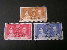 GAMBIA, SCOTT # 129-131(3). COMPLETE SET 1937 CORONATION ISSUE MVLH