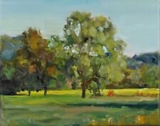 Artist PDQ Original Oil Painting Canvas Landscape Trees Meadow Artwork Realism