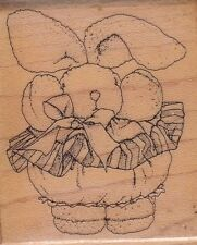 "snuggle bunny mostly animals Wood Mounted Rubber Stamp 2 x 2""  Free Shipping"