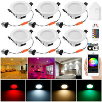6X RGBWC WIFI Bluetooth LED Ceiling Lamp Down Light Dimmable Spotlight for Alexa