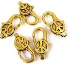 28x14mm Large Gold Pewter Peace Sign Lobster Claw Clasps (5) ~ Lead-Free