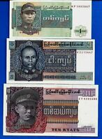 Lot 3PCS 1970 -80 1, 5 & 10 Burma Kyats Military Rule Rare Old UNC BankNotes Set