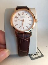 Bulova Women's 97L121 Rose Gold Brown Leather Strap Watch-R1A